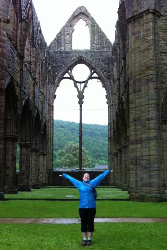 portrait of the author at Tintern Abbey