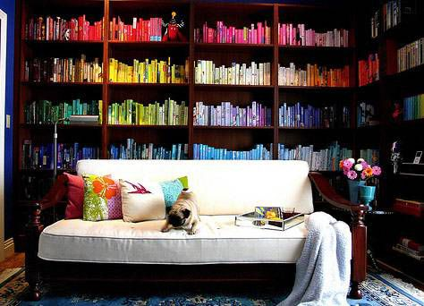 How to organize bookshelves with a lot of books colorful bookshelves