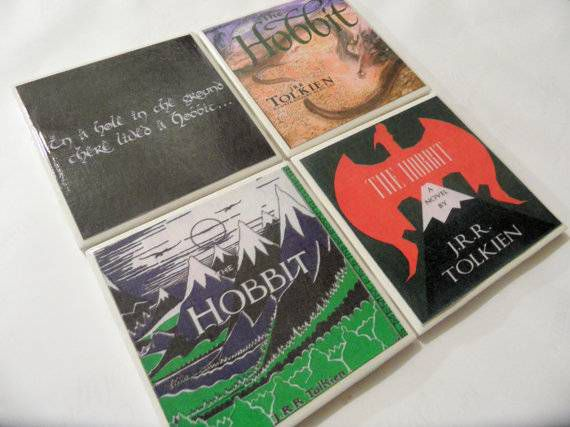 hobbit book cover coasters