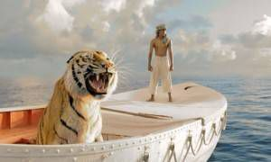Suraj Sharma and tiger in Life of Pi.