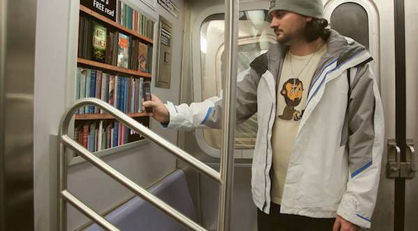 scanning shelf library subway taxi
