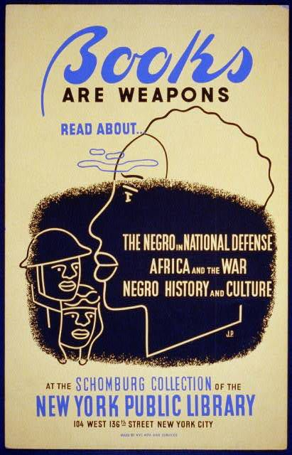 Poster promoting the NYPL Schomburg Collection as a source of information about African American life, produced in the early 1940s.