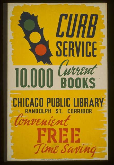 A poster advertising bookmobile service in Chicago, produced in 1941.