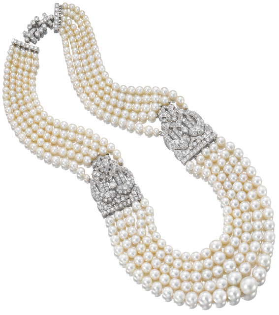 1930's pearl and diamond necklace by Cartier