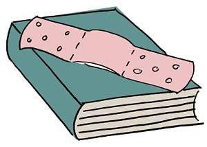 injured book, book band-aid, sad book