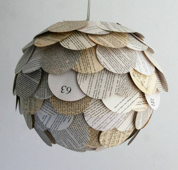 Artichoke Mixed Book Page Pendant Light, by Zipper8Lighting
