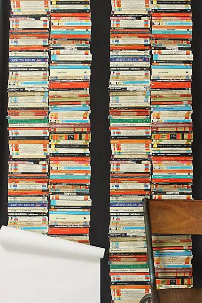 Stacked Paperback Wallpaper, by Tracy Kendall. Available from Anthropologie. (At enormous cost, alas.)