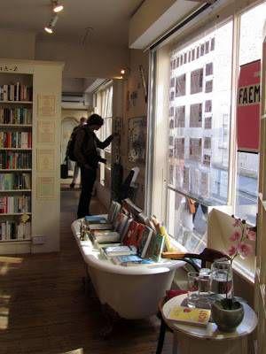 Bathtub of books at Mr. B's.