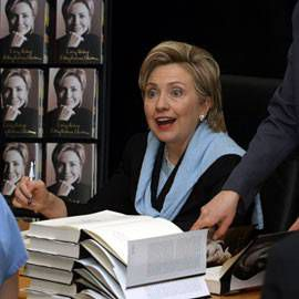 hillary clinton with books