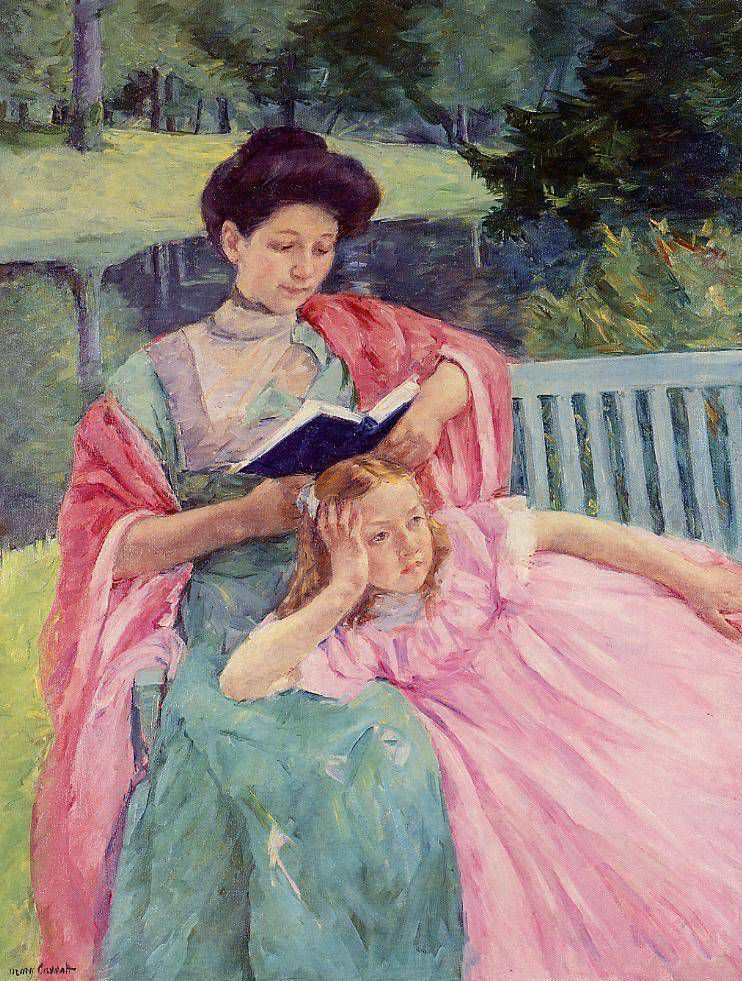 """Auguste Reading to Her Daughter,"" Mary Cassatt, 1910"