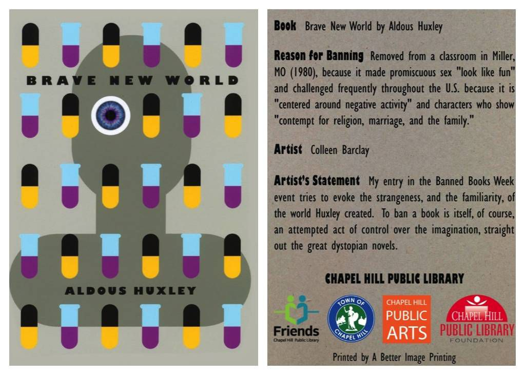 brave new world banned book card