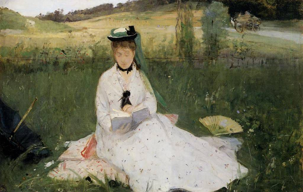 """Reading With Green Umbrella,"" Berthe Morisot, 1873"