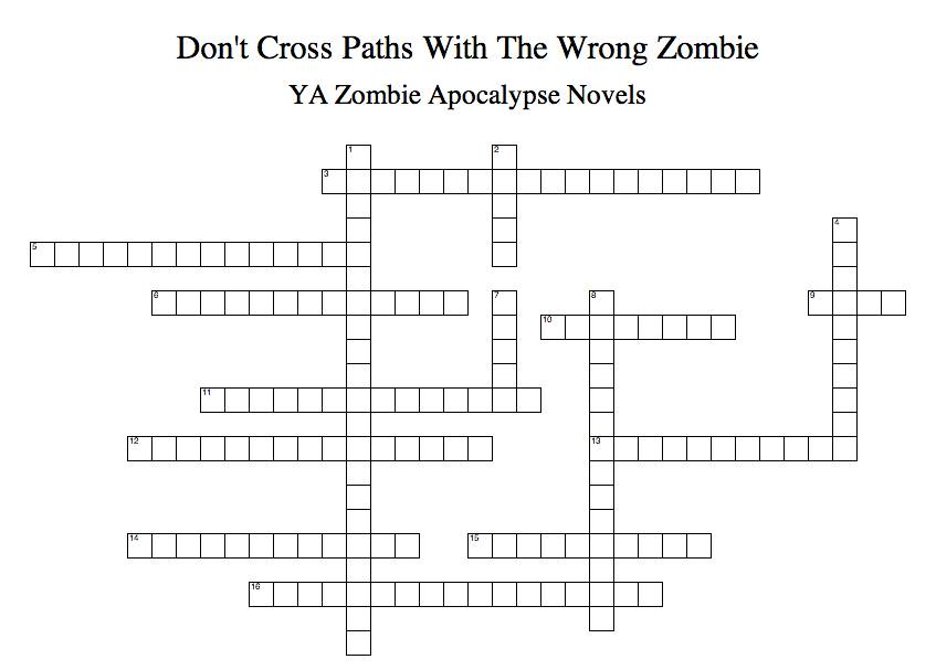 The ya zombie apocalypse crossword puzzle a little undead fun ya zombie crossword puzzle ccuart Image collections