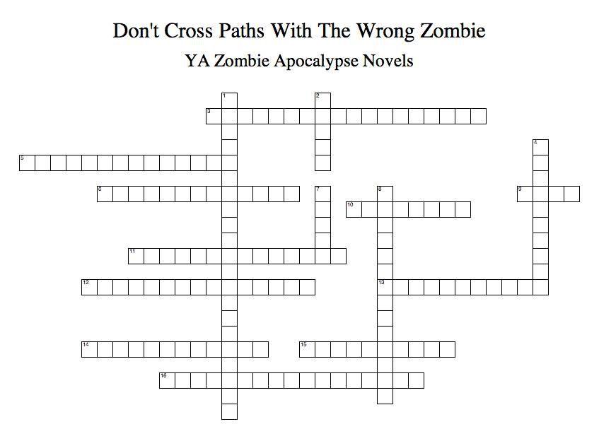 YA Zombie Crossword Puzzle