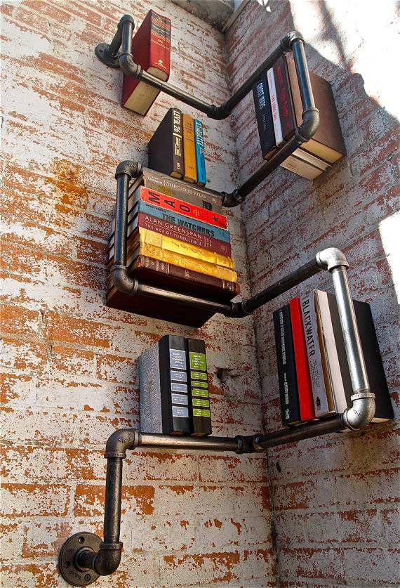 cast iron pipe bookshelf