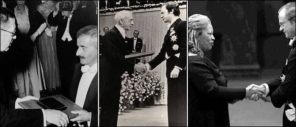 (L-R) Faulkner, Bellow, and Morrison receiving the Nobel Prize