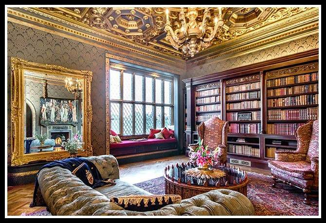 Luxury library at the Morgan Estate.