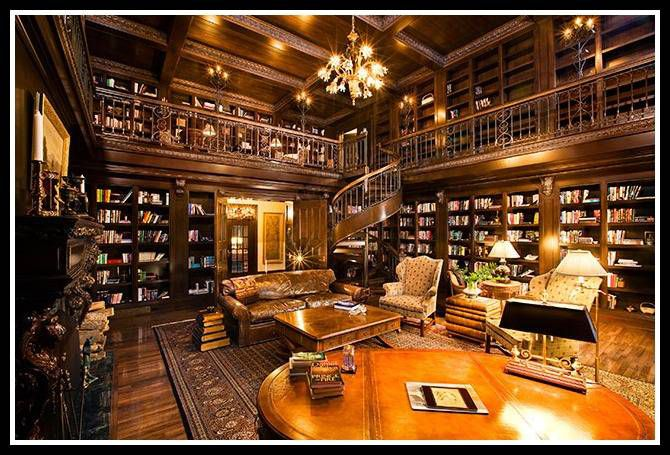A luxury home library in Ellison Bay, Wisconsin.