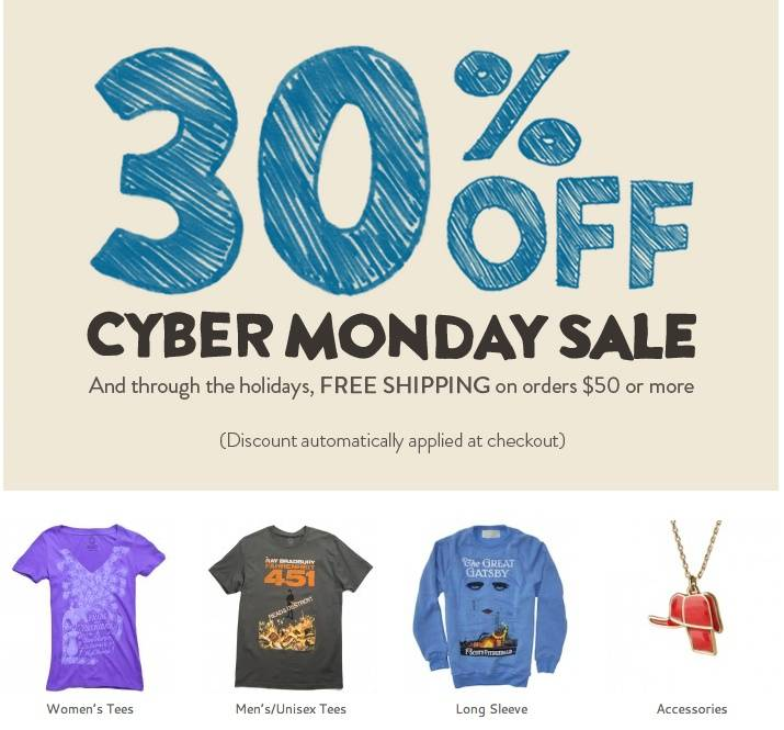 Bookish cyber monday deals out of print fandeluxe Images