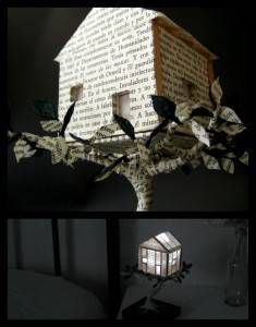 Night light house book art sculpture by Malena Valcárcel