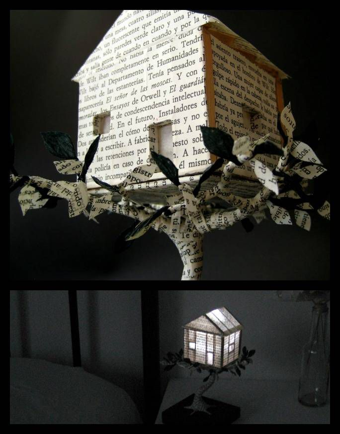 Night light house book art sculpture by Malena Valcárcel