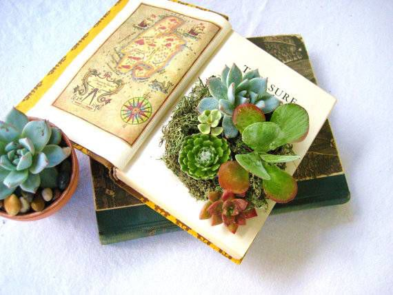 Book art planters from Etsy