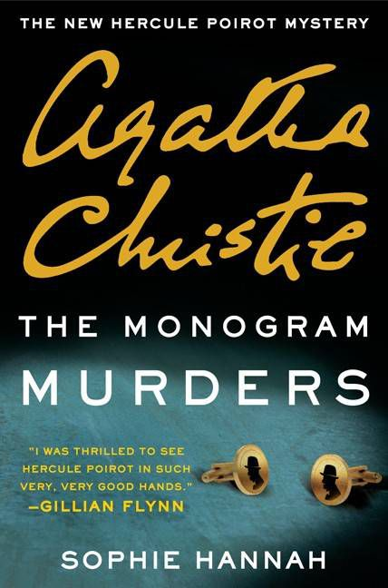 monogram murders cover, featuring two cufflinks with Poirot's silhouette on them