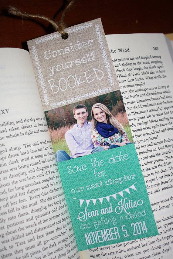 bookmark save the date  Five Wonderfully Bookish Save-The-Date Ideas Found On Etsy