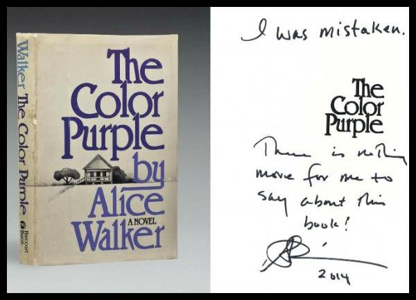 Alice Walker's note in the front of an annotated copy of The Color Purple