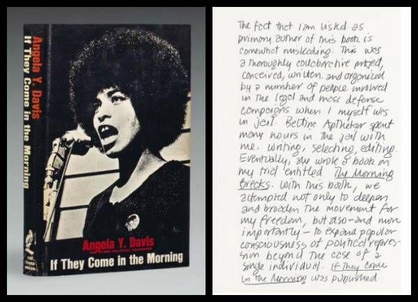 Angela Davis' comments on the front of an annotated first edition of If They Come in the Morning