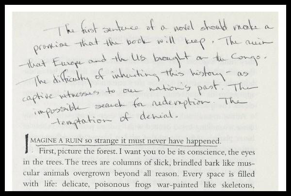 Barbara Kingsolver's note on the front page of an annotated first edition of The Poisonwood Bible.