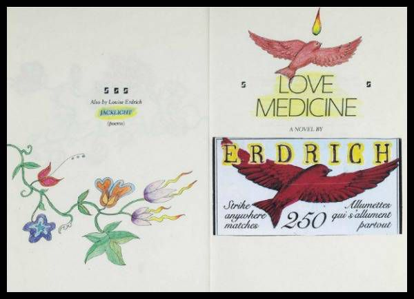 Louise Erdrich's colorful doodles on an annotated first edition of Love Medicine.