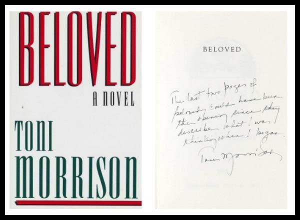 Toni Morrison's note on the title page of an annotated first edition of Beloved.