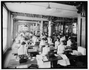 Typewriting department, National Cash Register, Dayton, OH, c. 1902. Detroit Publishing Company Photograph Collection, Library of Congress.