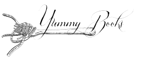 Header for Yummy-Books a literary food blog with a fork twirling spaghetti