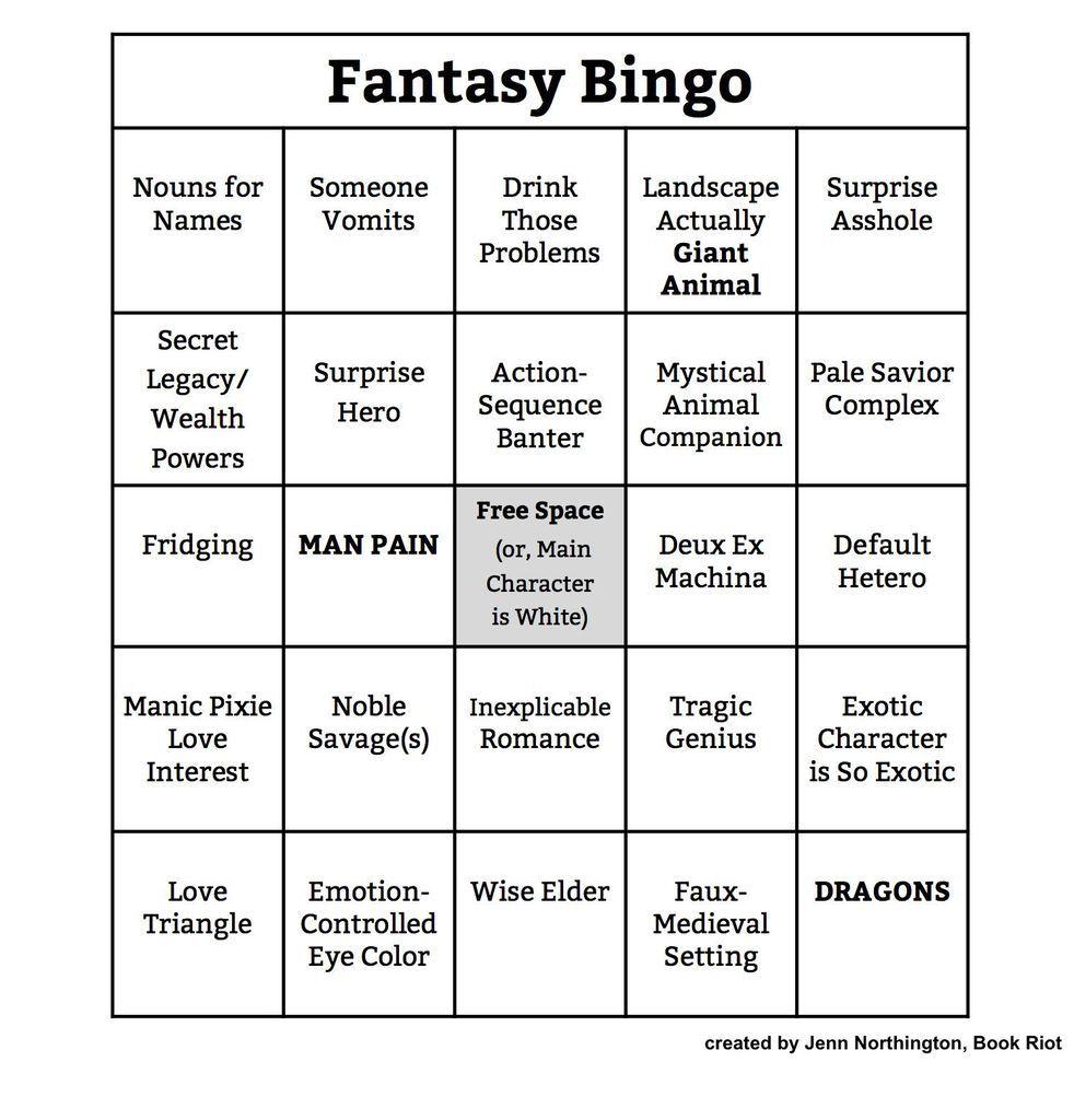 Bingo Card: Fantasy