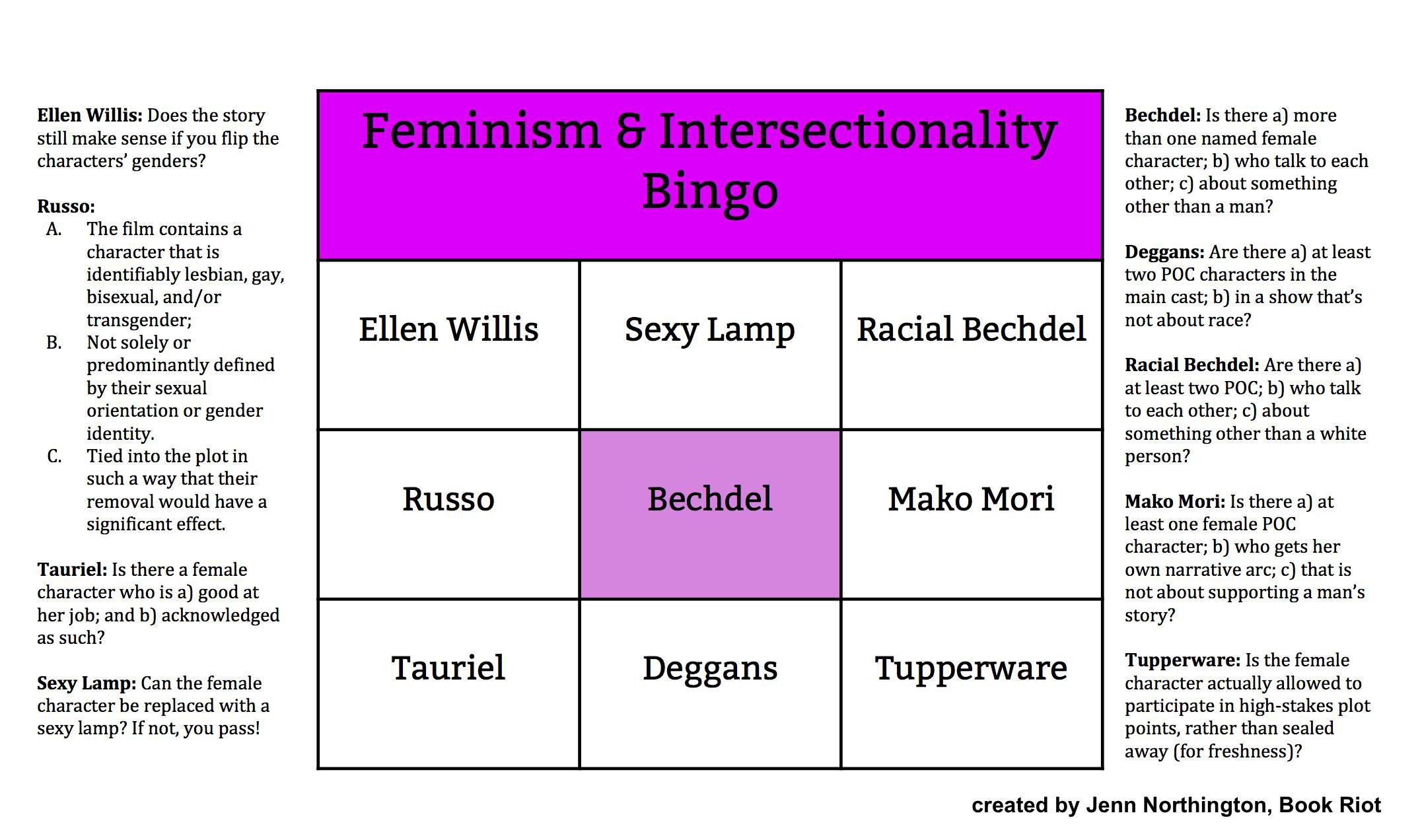 Bingo Card: Feminism and Intersectionality