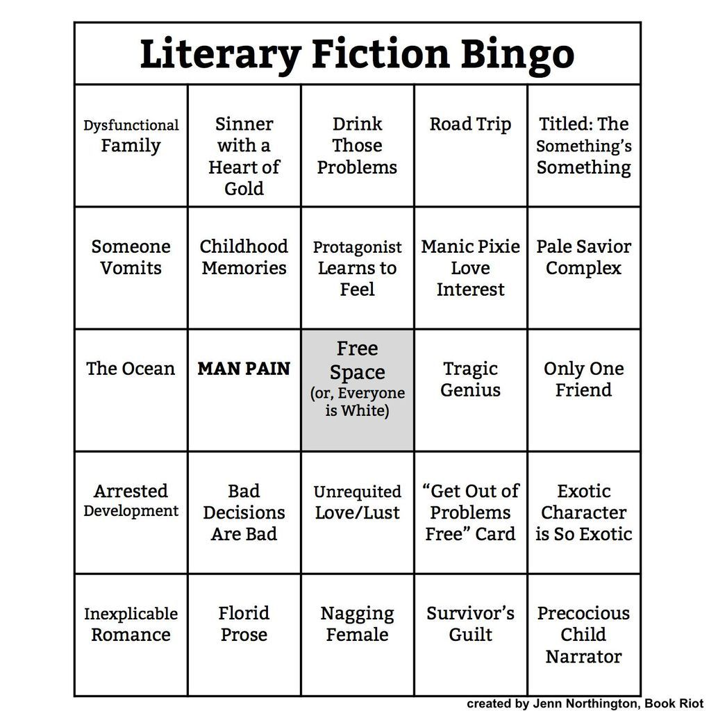 Bingo Card: Literary Fiction