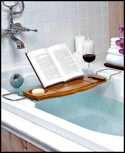 Step 3 of a perfect bookish Valentine's Day - take your book into the bathtub. Bonus points for candles and wine.