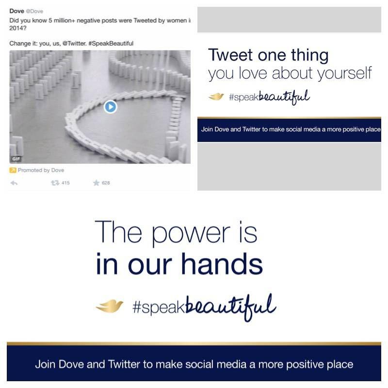 screenshots of Dove #SpeakBeautiful tweets
