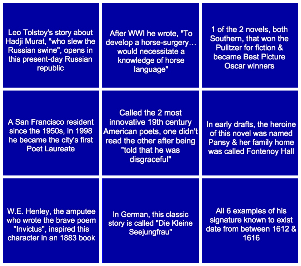 Examples Of Jeopardy Categories