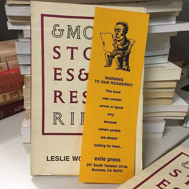 Bookmark found in copies of & More Stories published by Exile Press, 1992.  In the Gotham Book Mart Collection