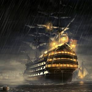 Pirate Ship in Rain