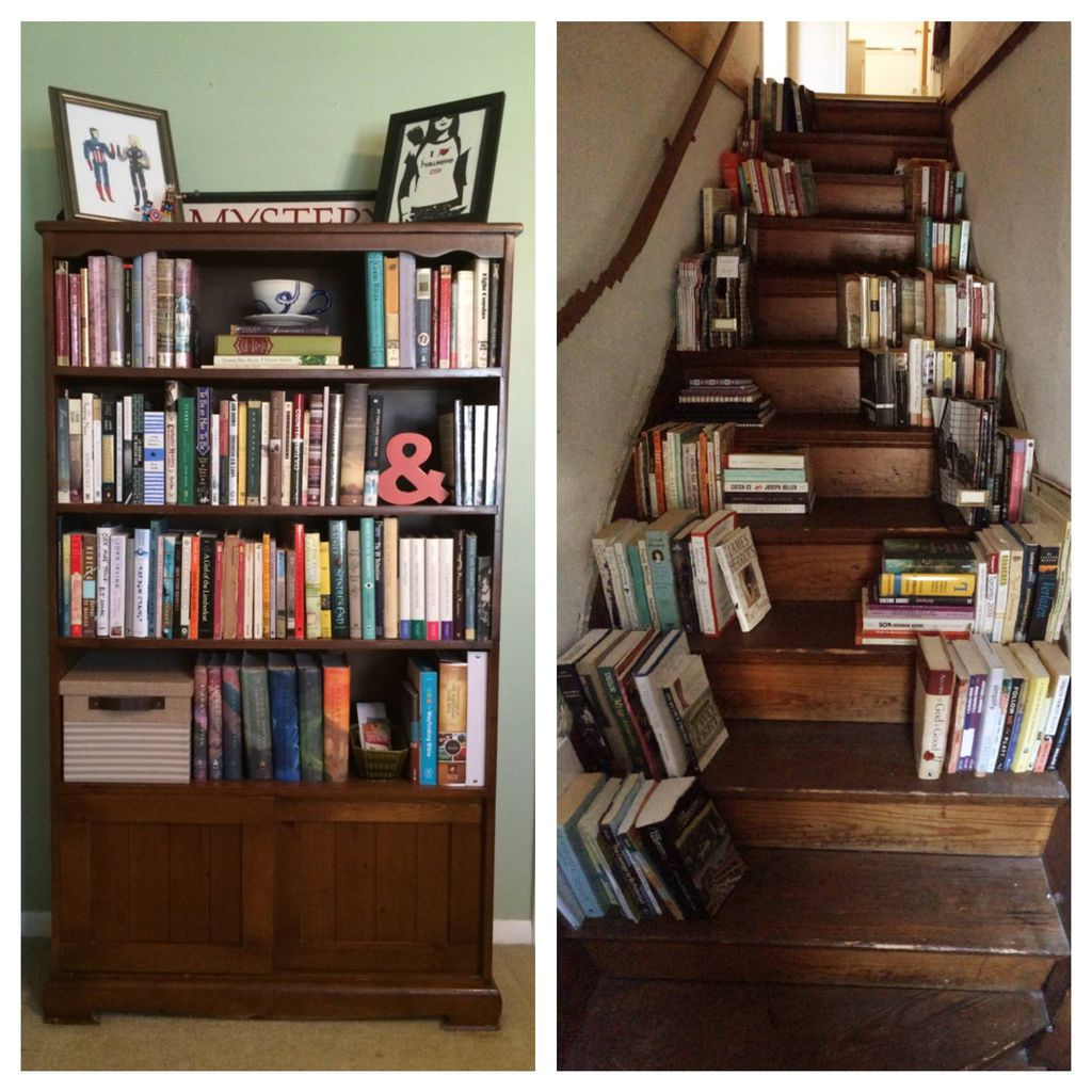 book shelves and book stairs