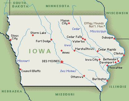 State Of Iowa Map With Cities.Literary Tourism In Iowa