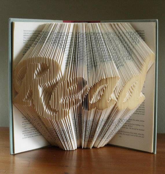 Folded book art from Luciana Frigerio Etsy shop