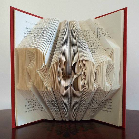 Folded book art from Origamie Folded Books Etsy shop