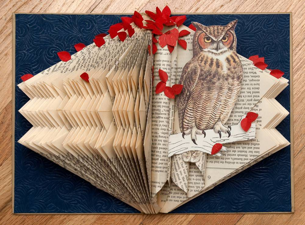 """Book art from Rachael Ashe's """"Altered Books: Owls"""" collection"""