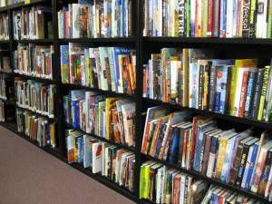 shelves of picture books