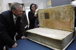 Codex Gigas, or The Devil's Bible, in perspective.
